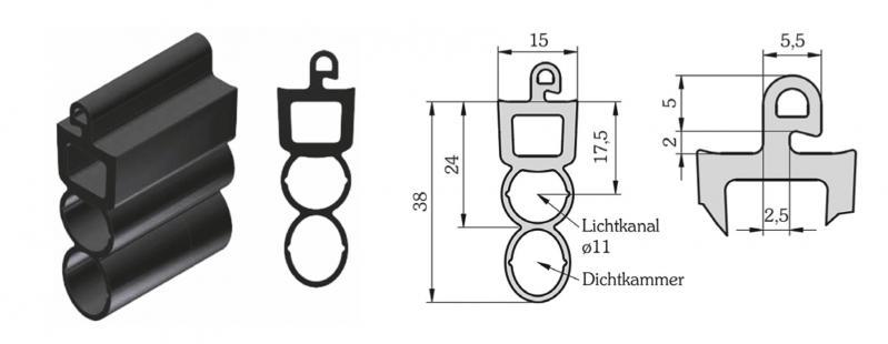 WTS - Gummiprofil mit Lichtkanal Ø 11mm GP1, 15 x 38mm (BxH)