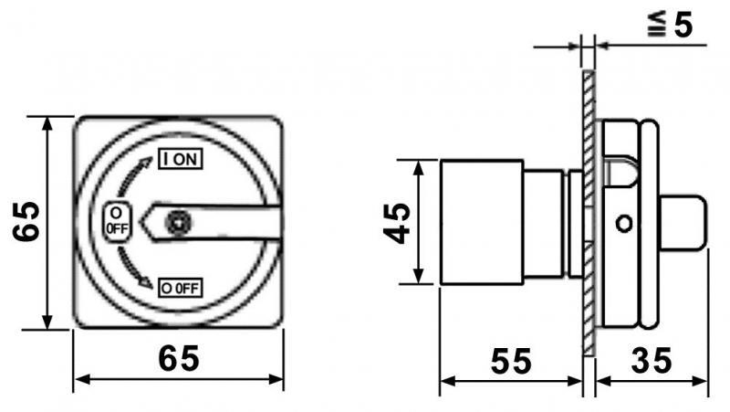 WTS - Hauptschalter HSE-20 für den Fronttafeleinbau, Wassergeschützt (frontseitig), 4-Polig, 20A