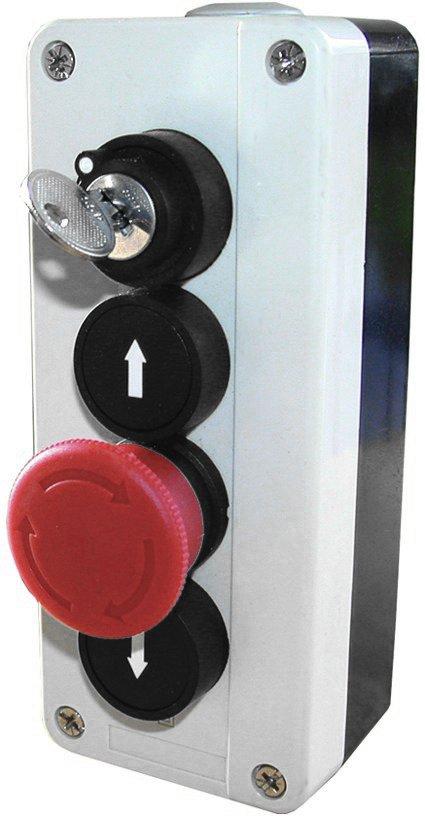WTS - Dreifach-NOT-HALT-Drucktaster mit Schloss AUF / NOT-HALT / AB, Wassergeschützt - Schutzart IP 65