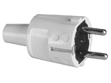 WTS - PVC-Stecker mit Kabel-Knickschutz, Weiss