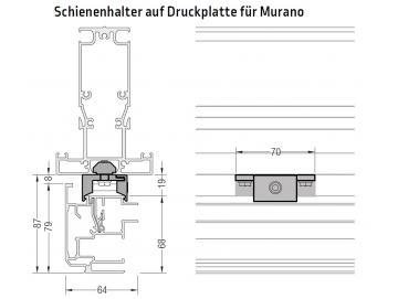 Druckplatte inkl. Schienenhalter für Morano - für Lewens Portofino Unterglasmarkise