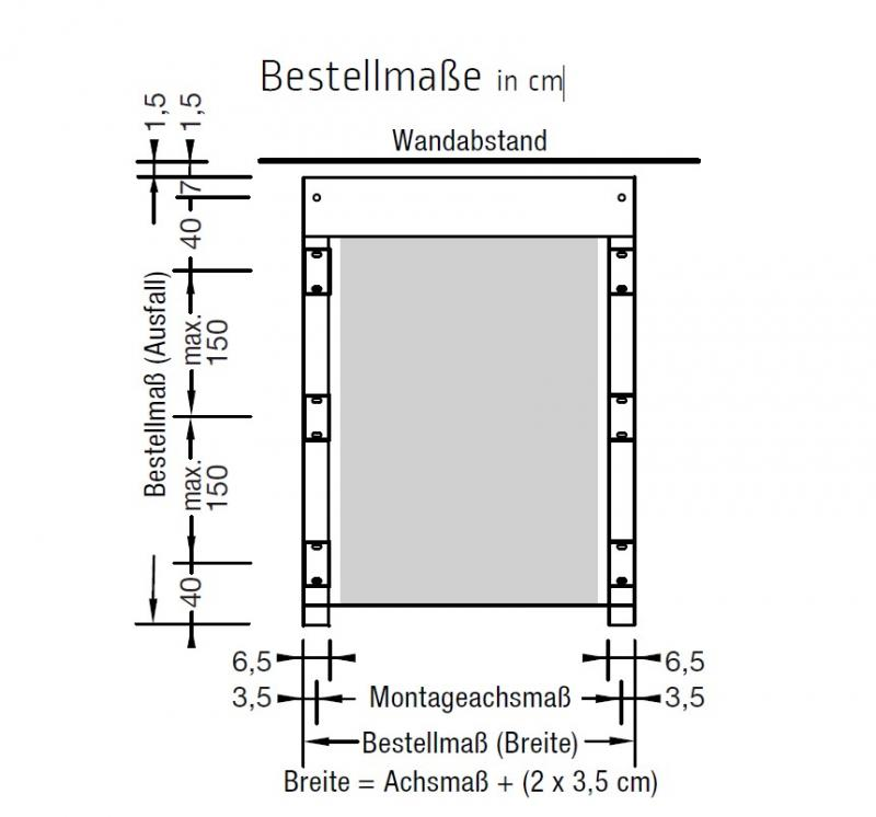 Montageset Kassette an Seitenverglasung Murano - für Lewens Portofino Unterglasmarkise