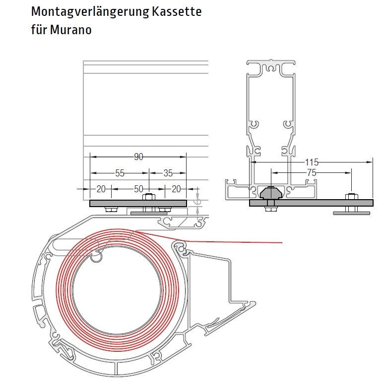 Montageverlängerung  Kassette an  Murano - für Lewens Portofino Unterglasmarkise