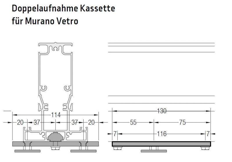 Doppelaufnahme Kassette an Murano Vetra oder Puro - für Lewens Portofino Unterglasmarkise