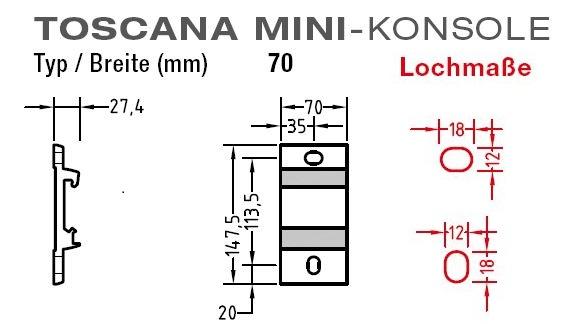 Wand und Deckenkonsole für Lewens Toscana Mini - Markise