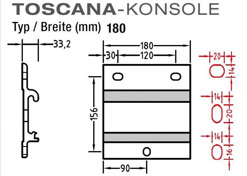 Wand Decken Konsole für Lewens Toscana - Markise ,Wand- und Deckenkonsole in einen