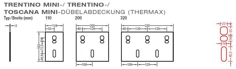 Dübelabdeckung-Thermax für Lewens Trentino  Gelenkarmmarkise