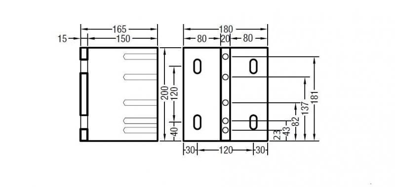Abstand-Montageplatte 165mm für Lewens Markisen