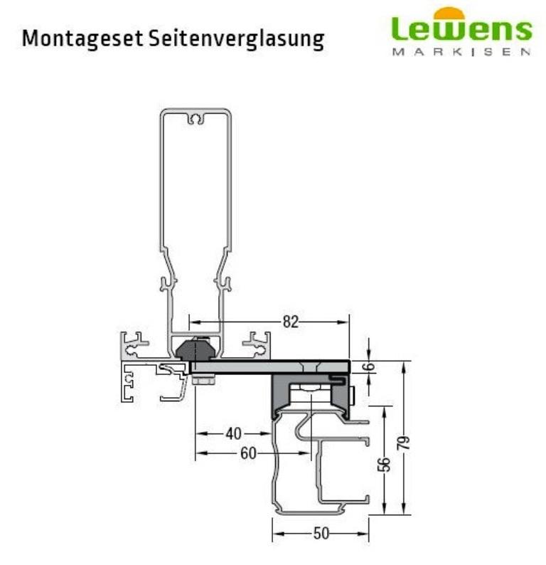 Montageset Seitenverglasung  - für Lewens Anconan Unterglasmarkise