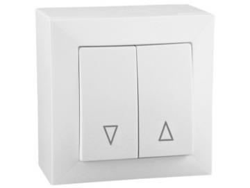 WTS - Doppel-Wipp-Schalter mit Rast / Taster ohne Rast mit Rahmen Lenora AP/UP Set