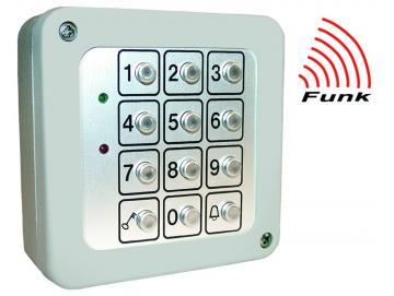 WTS - Funk-Code-Tastatur 3-Kanal: KeeLoq-System (Hopping-Code),Tastaturfeld aus Metall, IP 65 FE 868,30 MHz